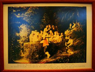 """Das Gemälde """"Abendmusik auf dem Bächlehof"""" von dem deutsch-französischen Maler Benjamin Zix  (1772-1811), ausgestellt im Museum Straßburg, hat diesen Zeitgeist festgehalten. Benjamin Zix war der Historiograph Napoleons"""