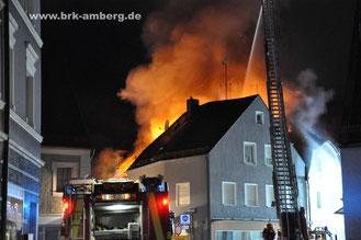 Dachstuhlbrand Innenstadt Amberg