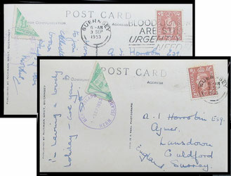 Two postcards to Guildford showing the 1953 1d. bisected. 3rd September 1953.