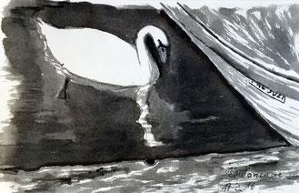 Schwan im See 17.3.2016