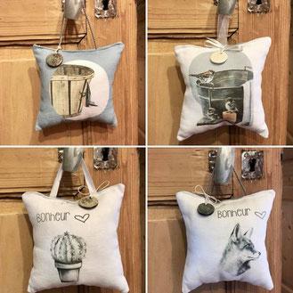 Des coussins de porte avec décoration en raku ou porcelaine