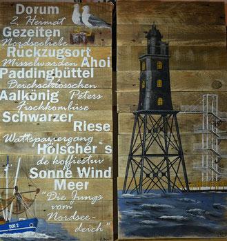 2-teiliges Holzbild mit Dorumer Leuchtturm, Kutter, 2 Möwen und passenden Begriffen