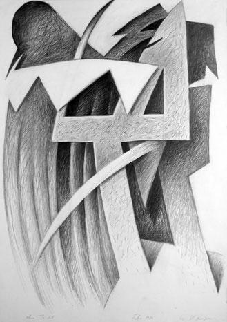 Ohne Titel, Bleistiftzeichnung, 86/61 cm, 1986