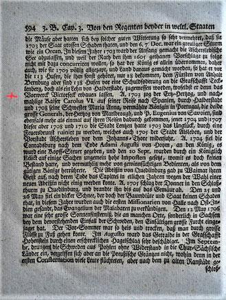 Die Seite, auf der Abel den Besuch Karls III. in Halberstadt erwähnt