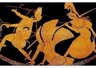 Perseo guidato da Atena fugge dopo aver decapitato Medusa. Hydria, Pittore di Pan, 500-450 a.C. British Museum, Londra