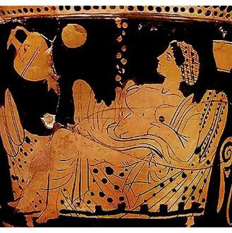Danae riceve Zeus sotto forma di pioggia d'oro. Krater, anonimo, 450-425 a.C. Museo del Louvre, Parigi