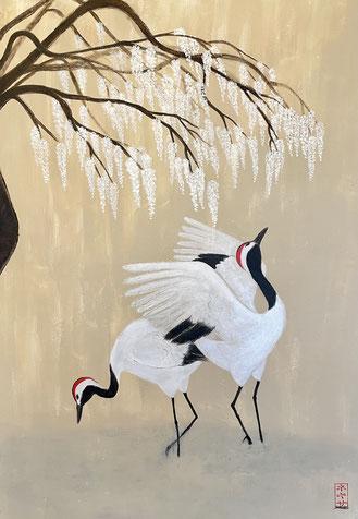 """Cranes under wisteria"" 100 x 70 cm"