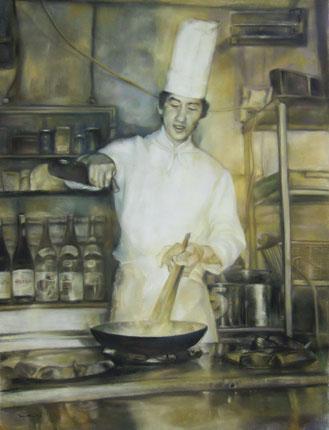 肖像画 肖像画札幌 シェフ 人物画 絵画 パステル画 パステル画教室 シュミンケソフトパステル