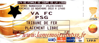 Ticket  Valenciennes-PSG  2010-11