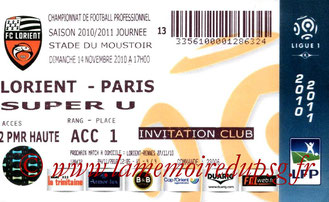 Ticket  Lorient-PSG  2010-11
