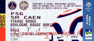 Ticket  PSG-Caen  2010-11