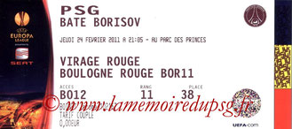 Ticket  PSG-Bate Borisov  2010-11