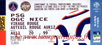 Ticket  PSG-Nice  2010-11