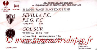 Ticket  Seville-PSG  2010-11