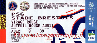 Ticket  PSG-Brest  2010-11