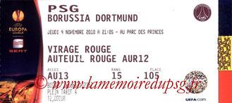 Ticket  PSG-Borussia Dortmund  2010-11