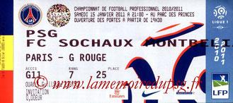 Ticket  PSG-Sochaux  2010-11