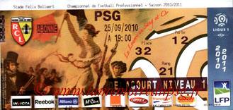 Ticket  Lens-PSG  2010-11