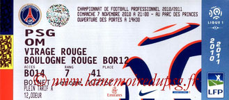 Ticket  PSG-Marseille  2010-11
