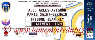 Ticket  Arles Avignon-PSG  2010-11