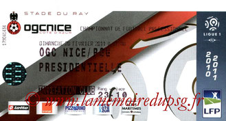 Ticket  Nice-PSG  2010-11