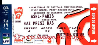 Ticket  Nancy-PSG  2010-11
