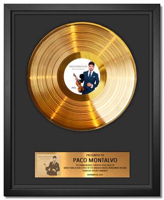 """Disco de Oro otorgado a Paco Montalvo por su álbum """"Alma del violín flamenco"""" publicado en el año 2015"""