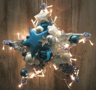 Weiß - blauer Stern mit Licht, beidseitig gefertigt