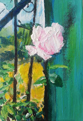 Rose rosé  .  Öl auf Malplatte . 10 x 14  .  VERKAUFT