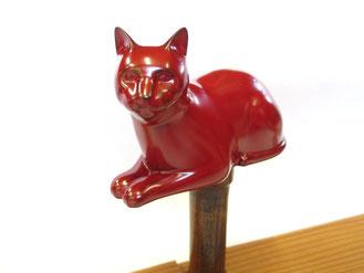 乾漆の猫1 朱漆の中塗り