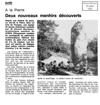 1992 - deux nouveaux menhirs découverts - Ouest France