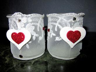 Bougeoirs St Valentin en dentelle