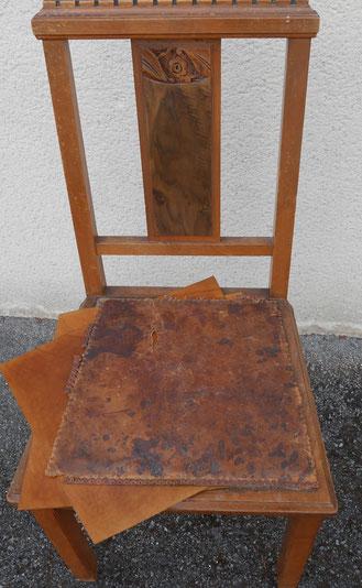 Ancienne assise en cuir