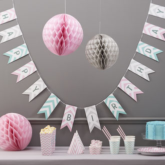 DECORATION FETE ANNIVERSAIRE PASTEL CHEVRON- PASTEL CHEVRON BIRTHDAY DECORATION