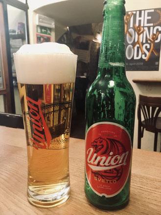 リュブリャナ産のウニオンビール。置いてないお店はありません!
