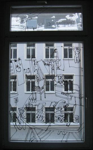 o.T. (AtelierII) . 2011 . Windowcolor auf Glas . 190 x 240 cm