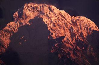朝焼けに染まるアンナプルナサウス山塊
