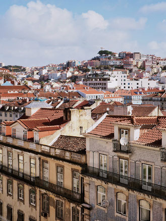 View of Lisbon rooftops from Elevador de Santa Justa
