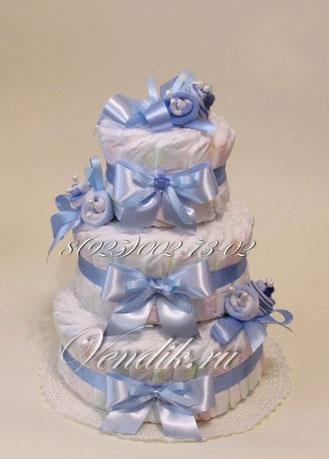 Торт из памперсов и носочков.© Подарок на рождение.