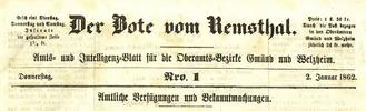 Der Bote vom Remsthal für die Oberamtsbezirke Welzheim und Gmünd. 1845-1867, in der zweiten Jahreshälfte 1867 hieß er Remszeitung.