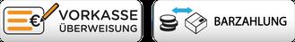 Zahlungsart Vorkasse Überweisung und Barzahlung