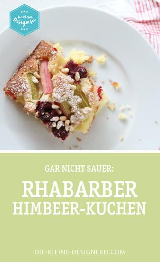 Rhabarber-Himbeer-Kuchen mit Pinienkernen, gar nicht sauer und ganz schön lecker!