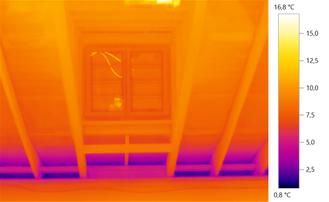 Die blauen kalten Stellen zeigen die fehlende Dämmung im Dachanschluss.