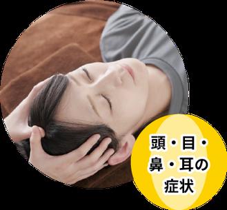 頭痛、めまい、しびれ、脳卒中の後遺症・予防、 眼精疲労、仮性近視、白内障、蓄膿症、鼻炎、 鼻づまり、耳鳴り、難聴、メニエール病