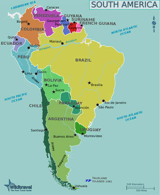 South America map, the countries of South America