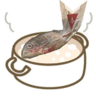 ②焼鯛を袋のまま湯せん