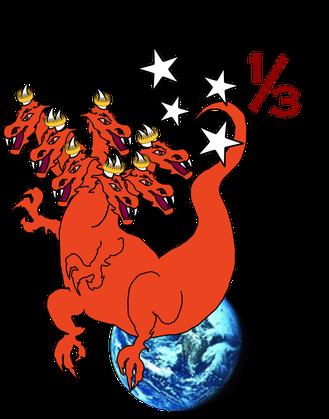 La queue de ce dragon a entraîné le tiers des étoiles, des anges qui ont choisi de se détourner également de Dieu pour suivre Satan. Le tiers représente une proportion importante.