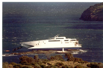 Condor 11 grounded off the coast of Tasmania, prior to her delivery to Condor Ferries.