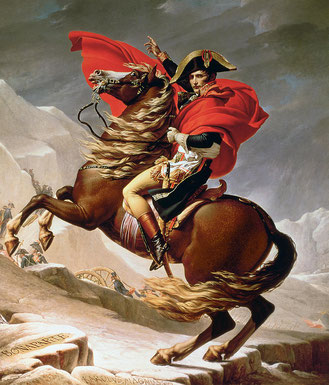 """""""Bony Crossing the Alps"""" (painting by Jacques-Louis David, 1801-1805)"""