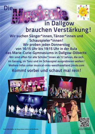 Plakat zum Musical-Angebot in Dallgow-Döberitz